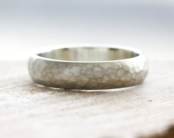 Rustic hammered wedding band in 9ct white gold with a satin matt finish, mens wedding ring handmade in the UK