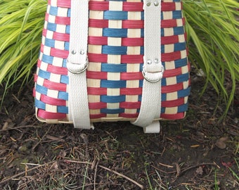 Red and Blue Mini Backpack Basket