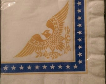Vintage Dixie Luncheon Napkins Eagle & Stars 1960s 16 3 Ply