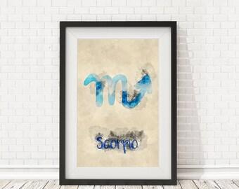 Scorpio zodiac sign, Watercolor scorpio, Scorpio poster, Scorpio sign, PRINTABLE art, Zodiac art, Zodiac signs, Zodiac wall signs watercolor