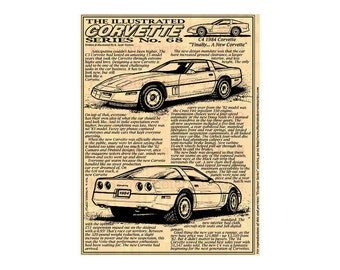 1984 Corvette Art Print, First C4 Corvette,Man Cave Art,Teeters,Nostalgic Corvette,84 Corvette,Americas Sports Car,1984 Production Corvette