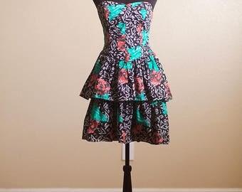 80s Ruffle Strapless Dress