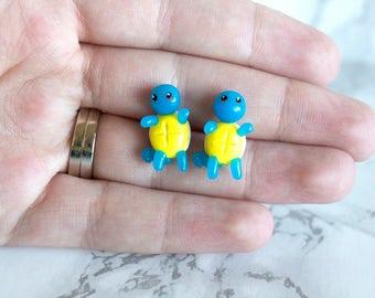 Squirtle Stud Earrings- Pokemon Earrings- Cute Earrings- Squirtle Pokemon- Polymer Clay Earrings