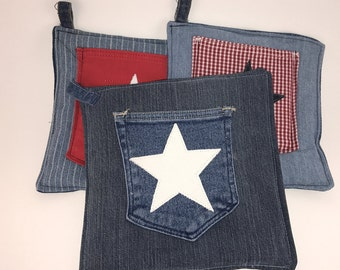 Denim Pot Holder with Blue Pocket and White Star Accent - FREE SHIPPING!