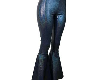 Black Hologram Bell Bottoms - Shimmery Spandex Pants  - Yoga, Rave, Festival, EDM, 80s Clothing - High Waisted