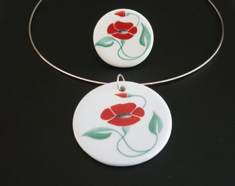 Necklace poppy ceramic hand painted