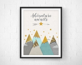 Adventure Awaits, Nursery Decor, Nursery Art, Nursery Mint Decor, Baby Gift, Nursery Mint Prints, Mountains, Neutral Wall Art, New Baby Gift