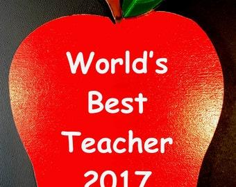 Personalized Teacher Gift/Personalized Apple Teacher Ornament/Apple Ornament/Teacher Appreciation/Apple Wedding Favor/Graduation/Retirement