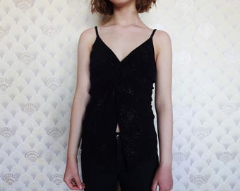 90s Open navel top, vintage lurex blouse, 90s grungy top, 90s crop top, spaghetti strap croptop, black grungy top, 90s black blouse XS S