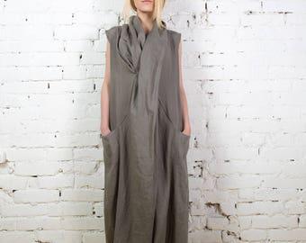 Long linen dress,Grey linen dress, Every day dress, Grey linen clothes, Sleeveless dress, Maternity dress, Long tunic dress/ LD0012