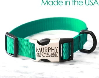 GREEN Dog Collar -- Personalized Dog Collars Laser Engraved with your dog's NAME & NUMBER