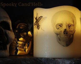 "Candle ""Spooky Cand'Hell"" skull LED and Scarabs."