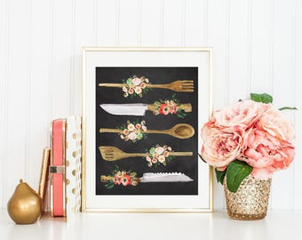 Kitchen Print-Kitchen Utensils Print-Chalkboard-Wooden Utensils Print-Spoon-Peach Flowers-Instant Download-Wall Art Decor-Printable Art