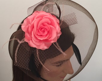 Angelina Mocha Black Soft Pink Feather and Net Fascinator on Black Satin Headband Bridal Prom Races Race Day Wedding Hair Piece