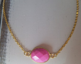 Pink Gemstone Necklace - Stacking Necklace - Pendant Necklace - Gold Necklace