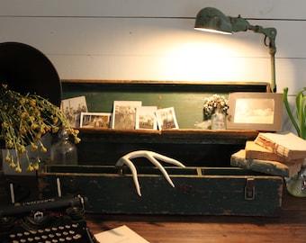 Vintage carpenter's box / Wood carpenter's box / Green wood tool box