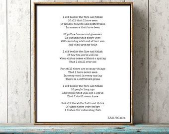 Literary Quote, Tolkien Poem Print, Instant Download, Black and White Art, I Sit and Think, Hobbit quote wall art, bookworm art print