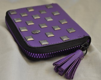 Purple Faux Leather Studded Gun Metal Coin Purse