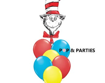 SHIPS FAST - Cat in the Hat Balloon Bouquet, Seuss Party Decorations, Cat in the Hat Birthday Party, Turquoise, Red and Yellow Balloons