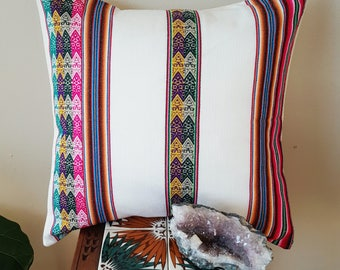 Peruvian Aguayo Pillow Cover in White