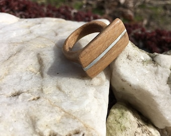 Wooden Ring with Silver Colored Detail