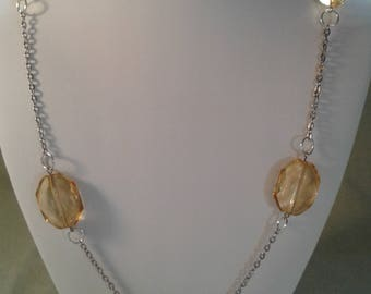 extra long silver chain light topaz glass beads