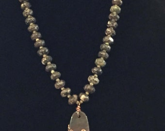 """Fluorite pendant and beads, wire wrapped in copper w/ purple crystals.  24""""  copper chain with 4"""" extender and matching pierced earrings."""