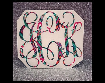 Lilly Pulitzer Monogram Decal, Lilly Inspired Monogram Decal, Monogram Car Decal, Preppy Decal, Laptop Monogram, Lilly Pulitzer vinyl
