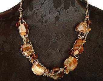Handmade necklace made of Amber and baroque pearls