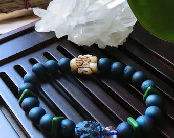 Buddha Bracelet. Blue Druzy Agate Yoga Mala Beaded Bracelet. Healing Natural Gemstone Bracelet. Protection Mala. Meditation Bracelet.
