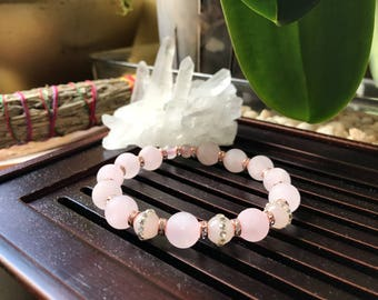 Matte Rose Quartz Yoga Mala Beaded Bracelet. Healing Natural Gemstone Bracelet. Protection Mala. Meditation Bracelet.