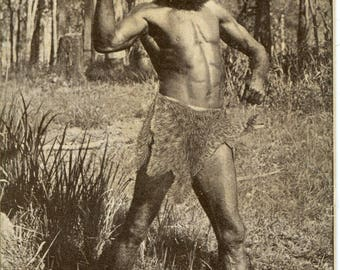SALE -20% Antique photo postcard Australia 'N.S.W. Aboriginial Warrior' original vintage photo postcard, native people, rare antique travel