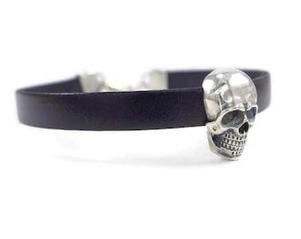 skull silver bracelet, mens black bracelet, boyfriend gift, mens skull bracelet, black skull bracelet, black bracelet, skull bracelet