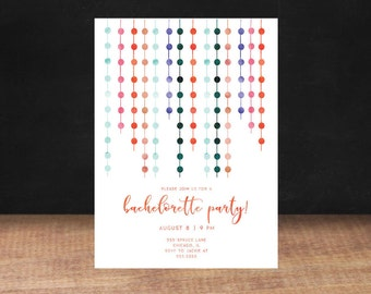 Pom Pom BACHELORETTE PARTY Invitation, Ladies Night Out, Watercolor, bachelorette party, Printable Invitation, Stationary