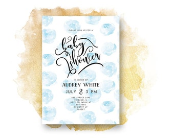 Baby Shower Invitation, BABY BLUE ROSE Baby Shower Invitation, Printable, Baby Boy,  Shower Invite, Stationary, Watercolor