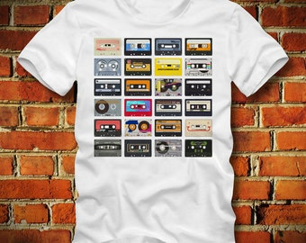 BOARDRIPPAZ Cassette Tapes T SHIRT 80s Retro Oldschool Music Tapes Cassettes Walkman Boombox Ghetto Blaster Mix Tape Stereo Cassette Shirt