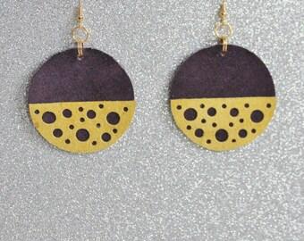 Purple and Yellow Earrings - Leather Earrings - Spotty Statement Earrings - Ready to ship