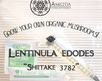 "LIVE Mycelium Liquid Culture, Lentinula edodes 3782 ""Shiitake"" Edible and Medicinal 10 ml"