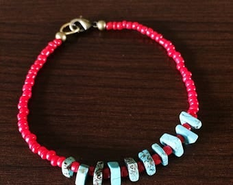 Turquoise and Seed Bead Bracelet