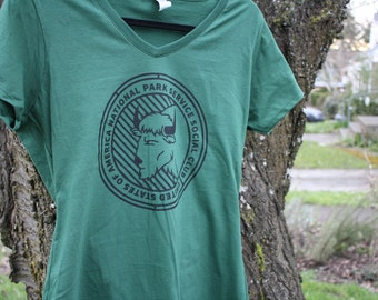 Women's buffalo tee Support National Parks T-shirt shirt Donation - donates 20% to NPS charity Crew neck sizes XS - XXL