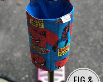 Water bottle holder for bike, Scooter, Pram or stroller, bottle, holder, scooter accessories, Spiderman, Boys