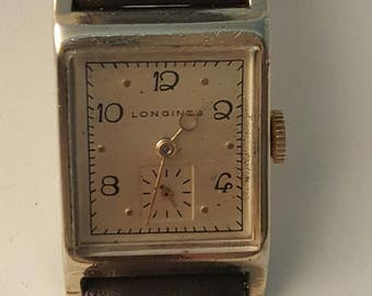 Vintage art deco LONGINES watch from 1946/47 with 10k gold fill case.--------SERVICED--------