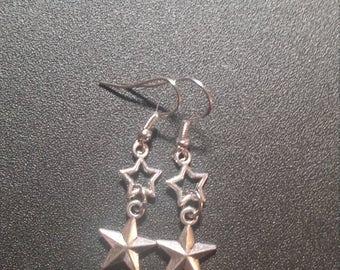Silver Hanging Double Star Dangle Earrings