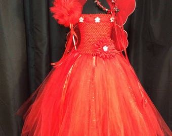 Red fairy tulle tutu dress w/ matching crown, wand, wings; birthday outfit; fairy costume for girls; fairy costume 18-24 mo, 3T/4T, 5/6, 7/8