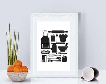 Instant Download! Kitchen Collage Digital Print