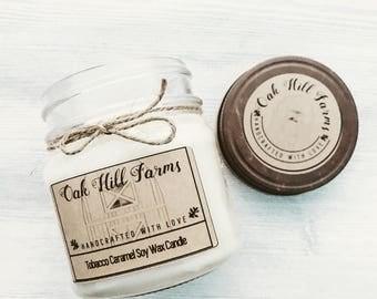 TOBACCO CARAMEL, soy wax candle, hand poured, mason jar candle, hint of orange, sugary sweet caramel, tobacco leaf, tones of oak