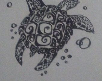 Sea Turtle ink- black and white