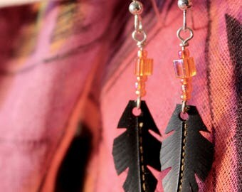 Recycled Bike Tube Feather Beaded Earrings!