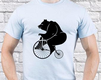 Bear/ Bear tshirt/ Bear on Bike/ Funny Bear/ Bear Happy/ Circus Bear/ men tshirt/ vintage bike/ retro bike/ cycling tshirt/ funny/  (FUN21)