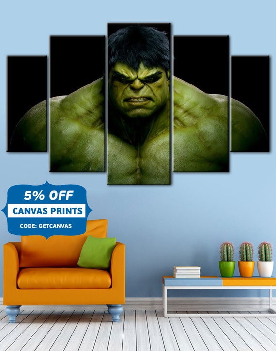 Hulk Canvas, 5 Panel ,Bedroom Wall Art , Home Decor,Kids Room Decor,Hulk  Canvas, Hulk Avenger   Amazing World Of Handmade Gifts